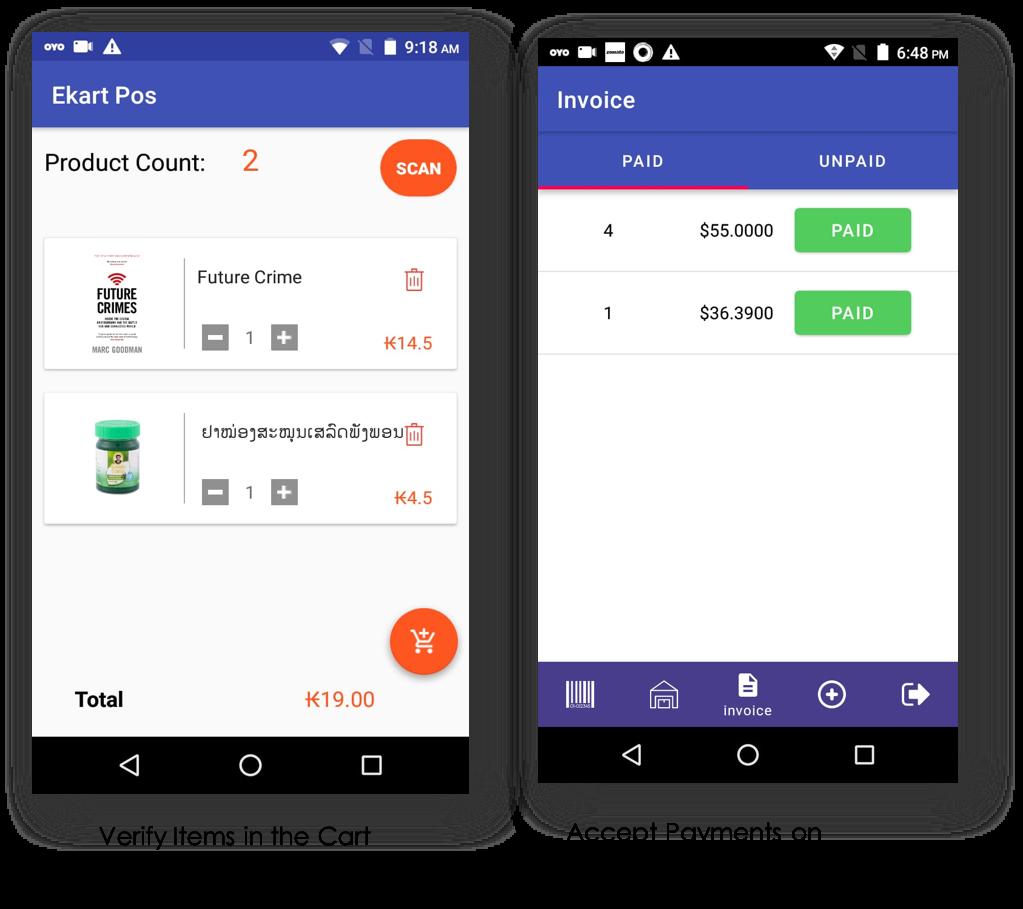 EKart mobile Handheld POS self service shopping offline to online