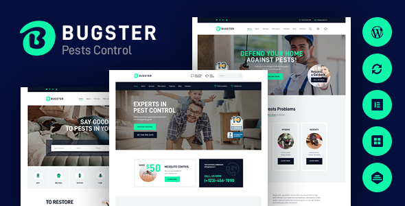 Exceptional Bugster   Bugs & Pest Control WordPress Theme for Home Services