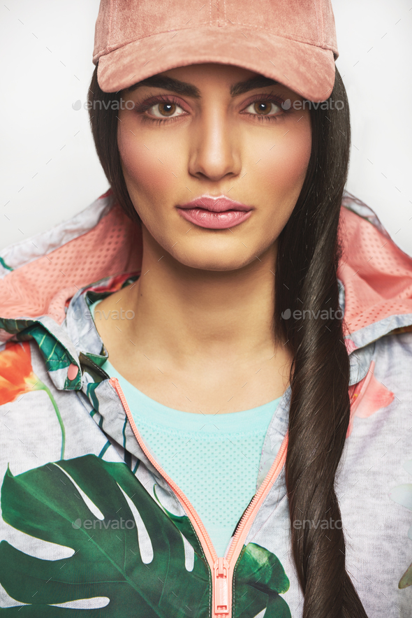 Woman with long hair in jacket - Stock Photo - Images