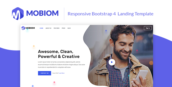 Mobiom – Responsive Bootstrap 4 Landing Template