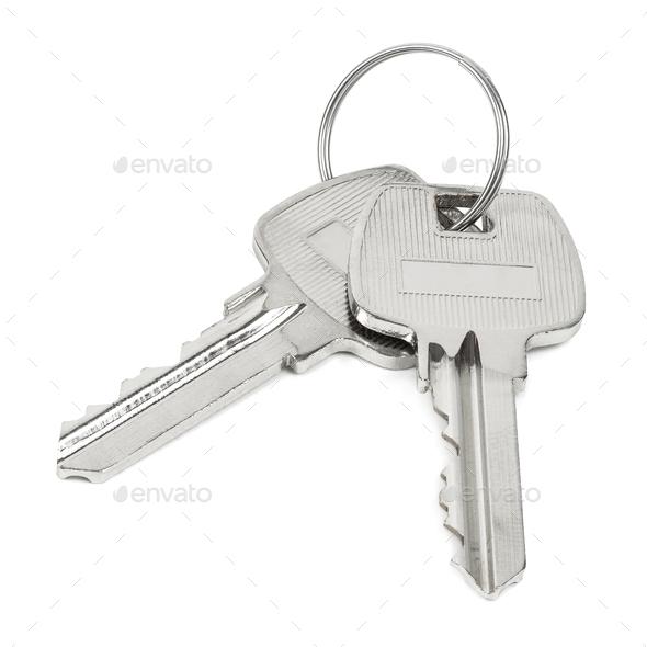 Two keys on key ring isolated on white background - Stock Photo - Images
