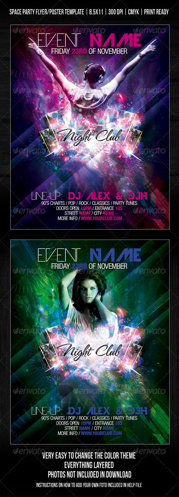 Night Club Space Party Flyer/Poster Template V2 - Clubs & Parties Events