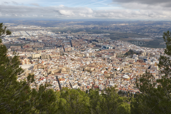 Jaen aerial view. Traditional town in Andalucia. Spanish cultural heritage - Stock Photo - Images