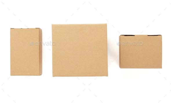 cardboard box on white background - Stock Photo - Images