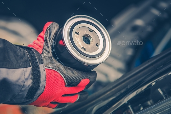 Vehicle Engine Oil Filter - Stock Photo - Images