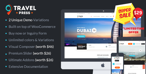 Download Travel Agency WordPress Theme – Tour Operator / Vacations | TravelPress nulled 01 preview