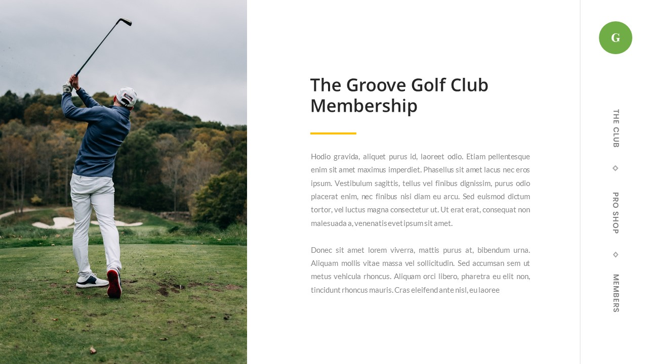 Groove - Golf Club Google Slides Template