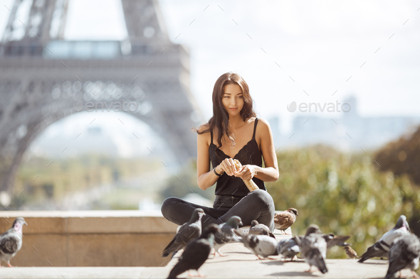 Beautiful Young Tourist Girl Near the Eiffel Tower, Paris - Stock Photo - Images