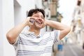 laughing middle aged man talking on smart phone - PhotoDune Item for Sale
