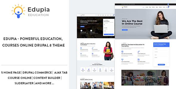Edupia - Powerful Education, Courses Online Drupal 8.6 Theme