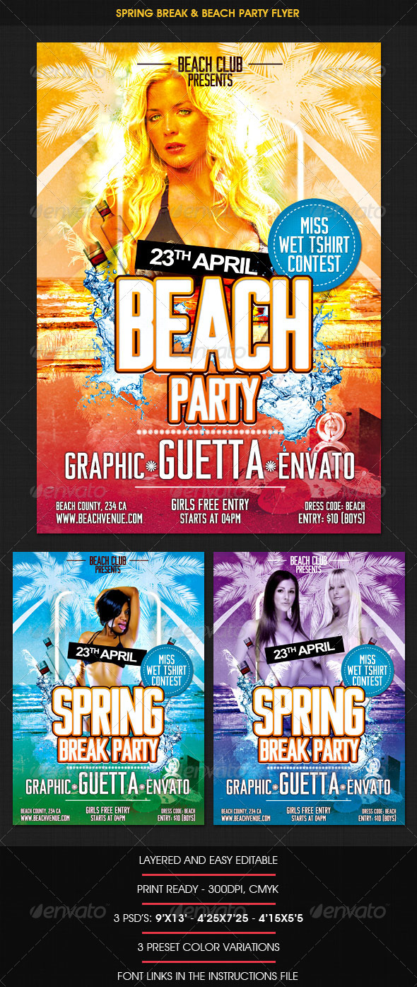 Spring Break & Beach Party Flyer - Clubs & Parties Events