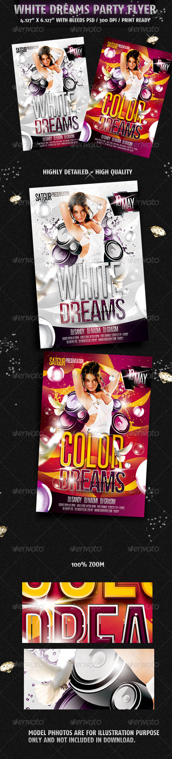 White Dreams Party Flyer - Flyers Print Templates