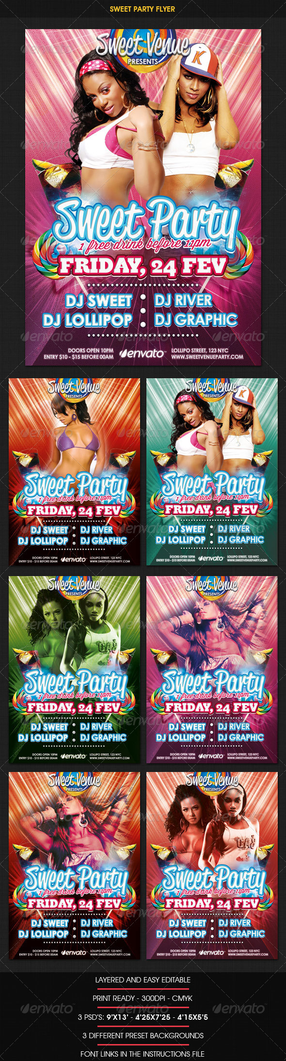 Sweet Dance Party Flyer - Clubs & Parties Events