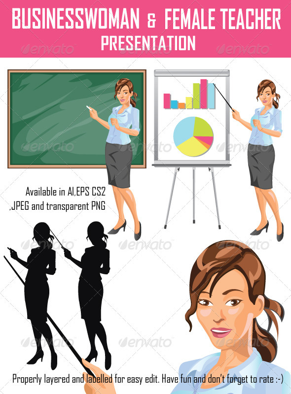 Businesswoman and Teacher Presentation - People Characters