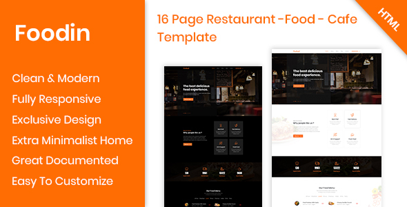 Great Foodin - Restaurant & Cafe Responsive HTML Template