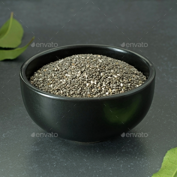 Chia Seeds in a Black Bowl - Stock Photo - Images