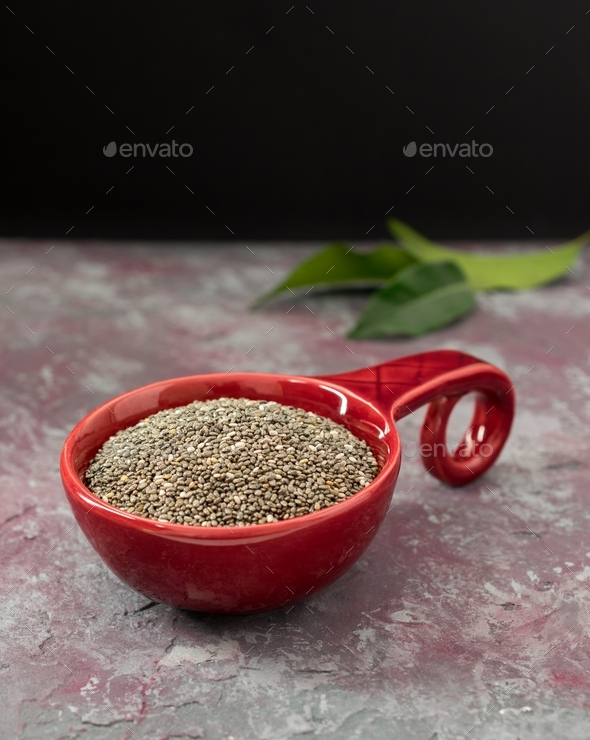 Chia Seeds in a Red Bowl - Stock Photo - Images