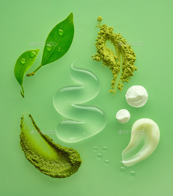 composition of various organic cosmetic products - Stock Photo - Images