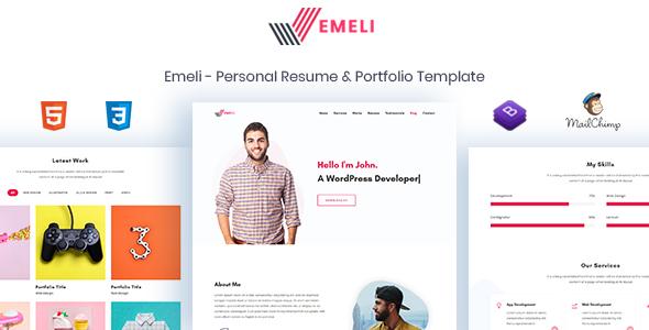 Emeli - Personal Resume & Portfolio Template