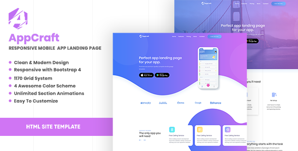 AppCraft - Creative Template for Mobile App Landing Page