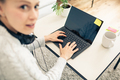 Woman working from home on laptop computer - PhotoDune Item for Sale