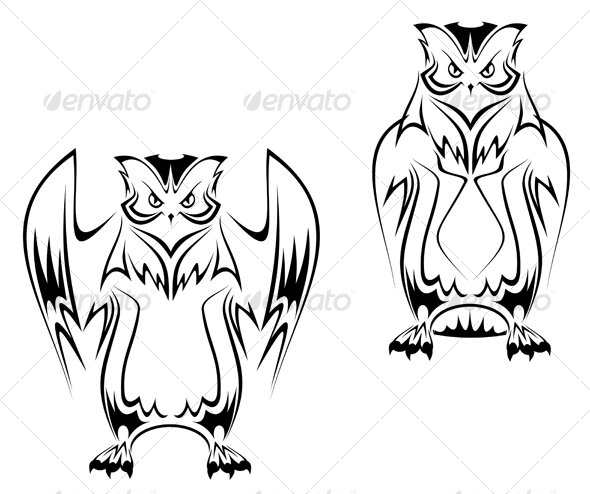 Owl tattoo in two variations - Tattoos Vectors