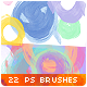 22 Circles Badges Stripes Watercolor Photoshop Brushes - GraphicRiver Item for Sale