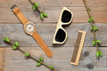 Eco-friendly plastic-free bamboo objects on wooden background - PhotoDune Item for Sale