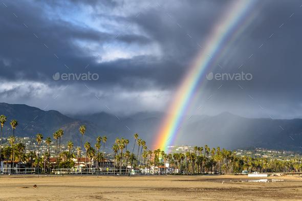 Rainbow during storm in Santa Barbara - Stock Photo - Images