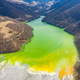 Aerial view of chemical residuals flooding a lake from a copper mine exploitation - PhotoDune Item for Sale