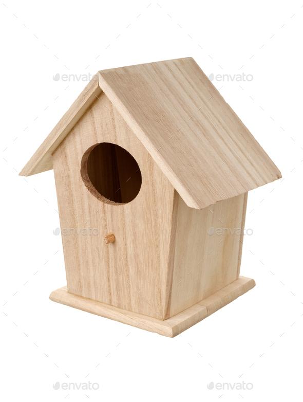 Wooden bird nesting box - Stock Photo - Images