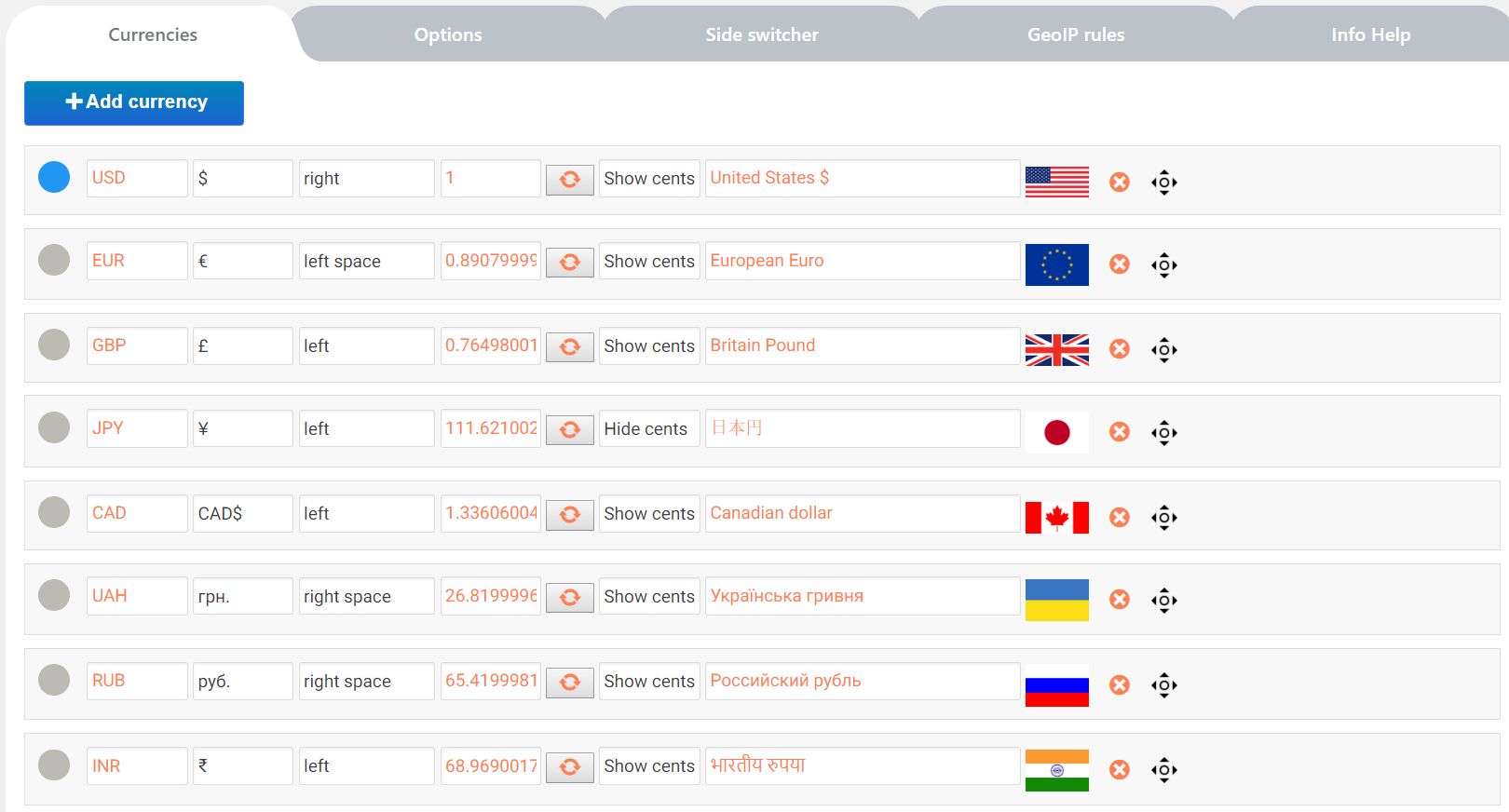 WordPress Currency Switcher