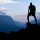 Man hiking success silhouette in mountains - PhotoDune Item for Sale