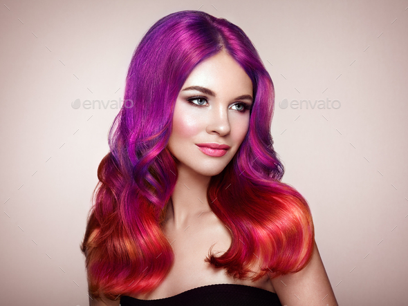 Beauty fashion model woman with colorful dyed hair - Stock Photo - Images