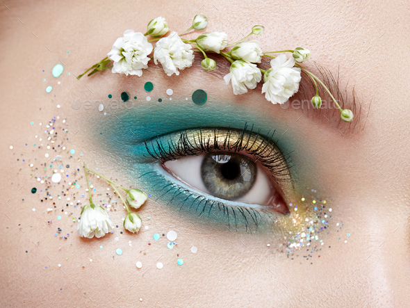 Eye Makeup Woman With A Flowers Stock