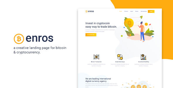 Enros - BitCoin & Cryptocurrency Landing Page by TeamXcel