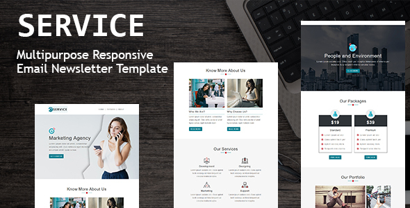 Service - Multipurpose Responsive Email Template with Online StampReady Builder & Mailchimp Editor
