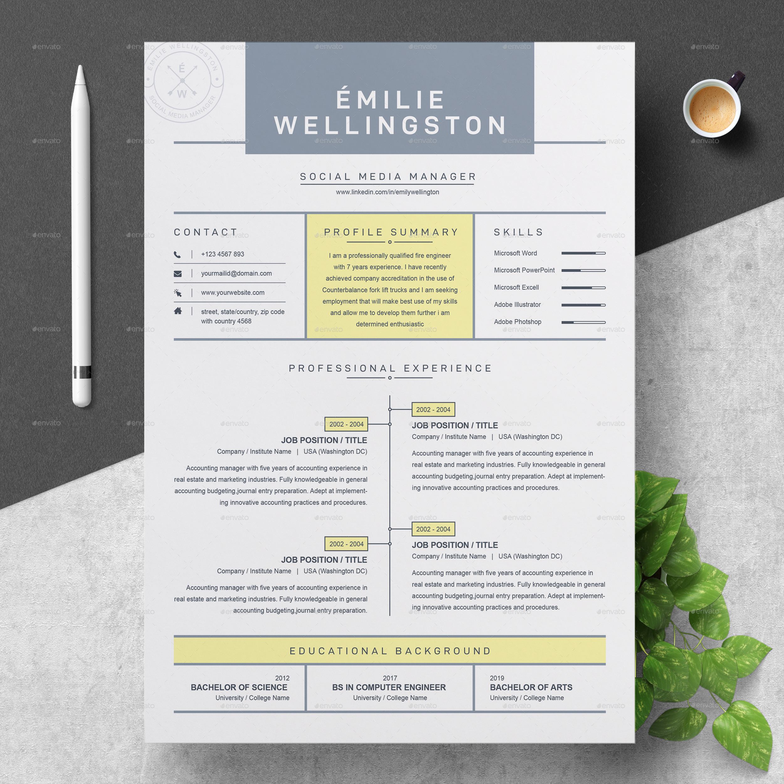 Creative Professional Resume / CV Template By