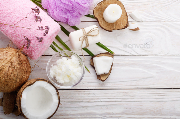 Flat lay Body care Coconut oil soap and candle set on white tabl - Stock Photo - Images