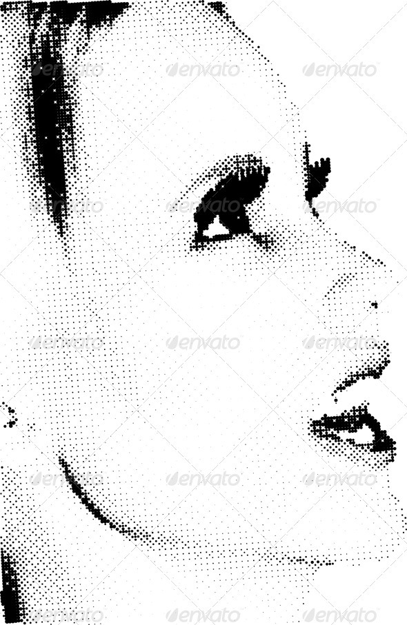 Halftone female face - People Characters
