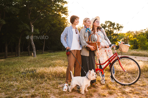 Beautiful girls with bicycle and wood basket in hands dreamily l - Stock Photo - Images