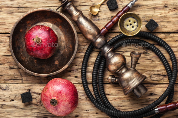 Hookah with pomegranate flavor - Stock Photo - Images