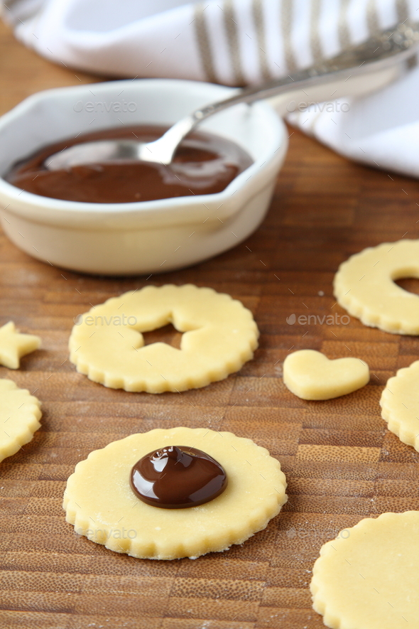 Process of baking shortbread cookies pops with chocolate - Stock Photo - Images