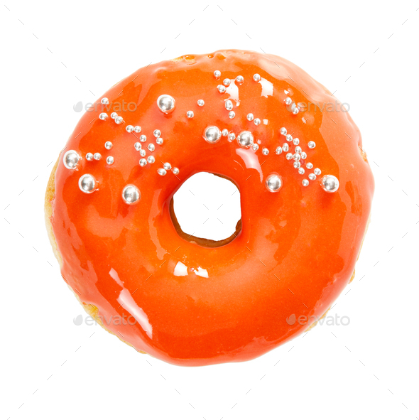 Donut with yellow glossy mirror glaze isolated on white - Stock Photo - Images