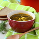 Fresh  green vegetable soup in the red bowl - PhotoDune Item for Sale