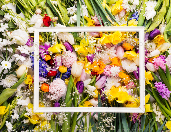 Easter and spring flat lay. Flower background. Copy space. - Stock Photo - Images
