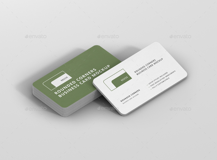 Business Card Mockup Stack 90x50 Round