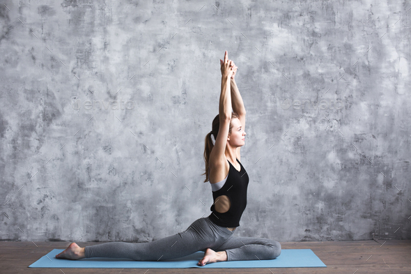 Woman practice in in fitness club. Yoga concept. - Stock Photo - Images