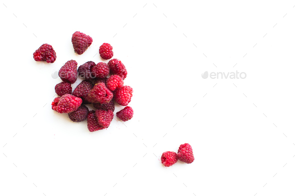 Playful raspberries on a white background - Stock Photo - Images