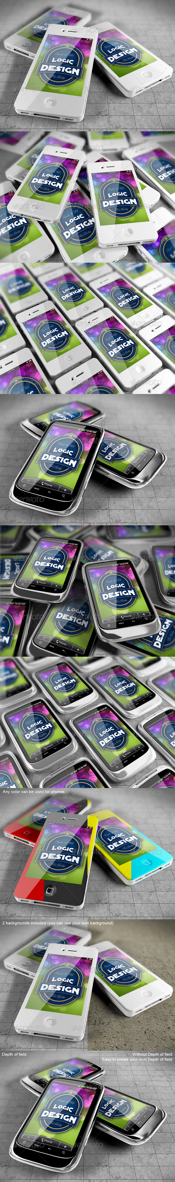 Smart Phones Mock Up - Mobile Displays